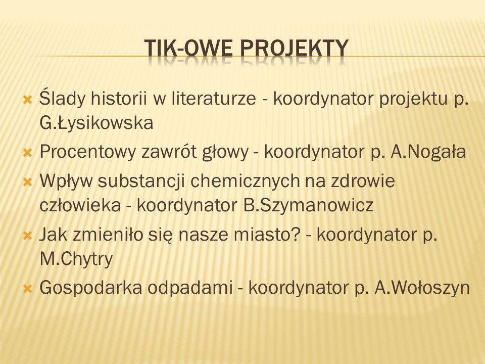  Ślady historii w literaturze - koordynator projektu p.