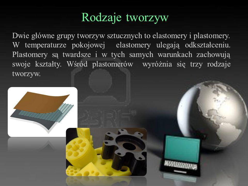 Rodzaje tworzyw Dwie główne grupy tworzyw sztucznych to elastomery i plastomery. W temperaturze pokojowej elastomery ulegają odkształceniu. Plastomery