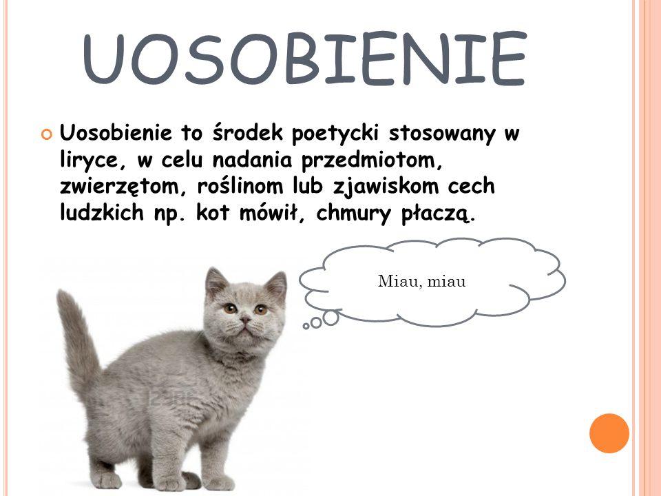 UOSOBIENIE Uosobienie to środek poetycki stosowany w liryce, w celu nadania przedmiotom, zwierzętom, roślinom lub zjawiskom cech ludzkich np. kot mówi