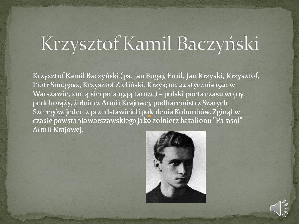 Był synem Stanisława Baczyńskiego, działacza socjalistycznego, żołnierza Legionów Polskich, oficera WP, pisarza i krytyka literackiego oraz Stefanii Zieleńczyk, nauczycielki i autorki podręczników szkolnych, katoliczki pochodzącej ze zasymilowanej rodziny żydowskiej.