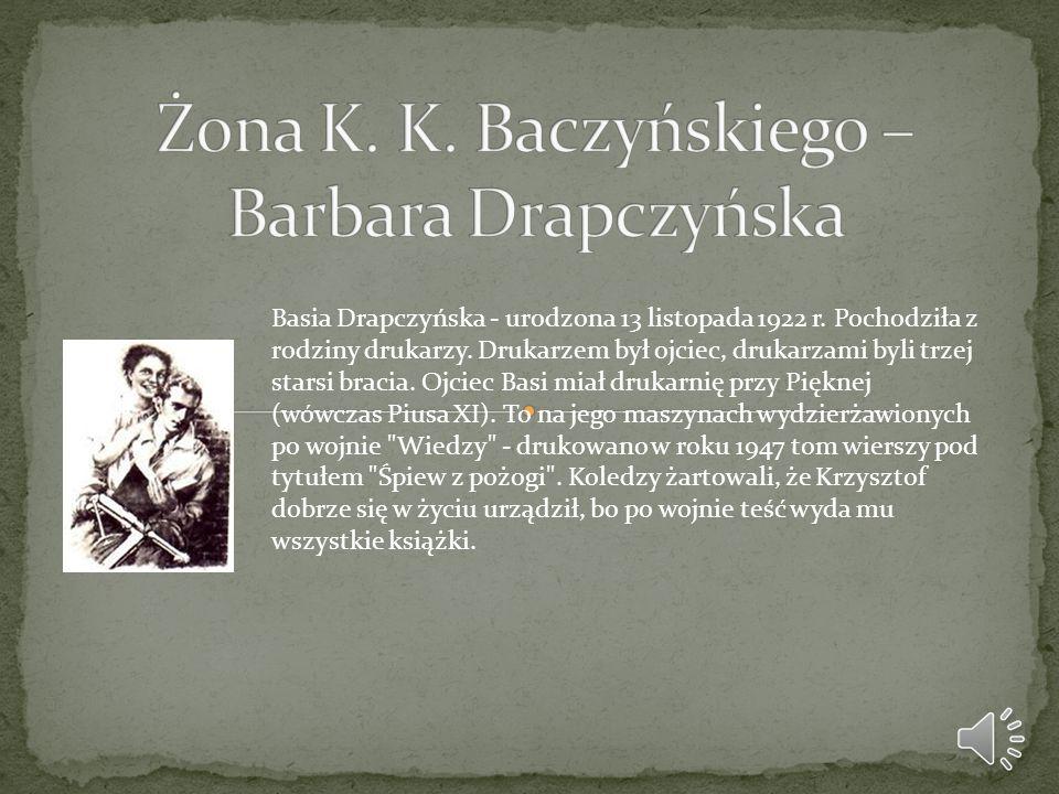 Basia Drapczyńska - urodzona 13 listopada 1922 r. Pochodziła z rodziny drukarzy. Drukarzem był ojciec, drukarzami byli trzej starsi bracia. Ojciec Bas