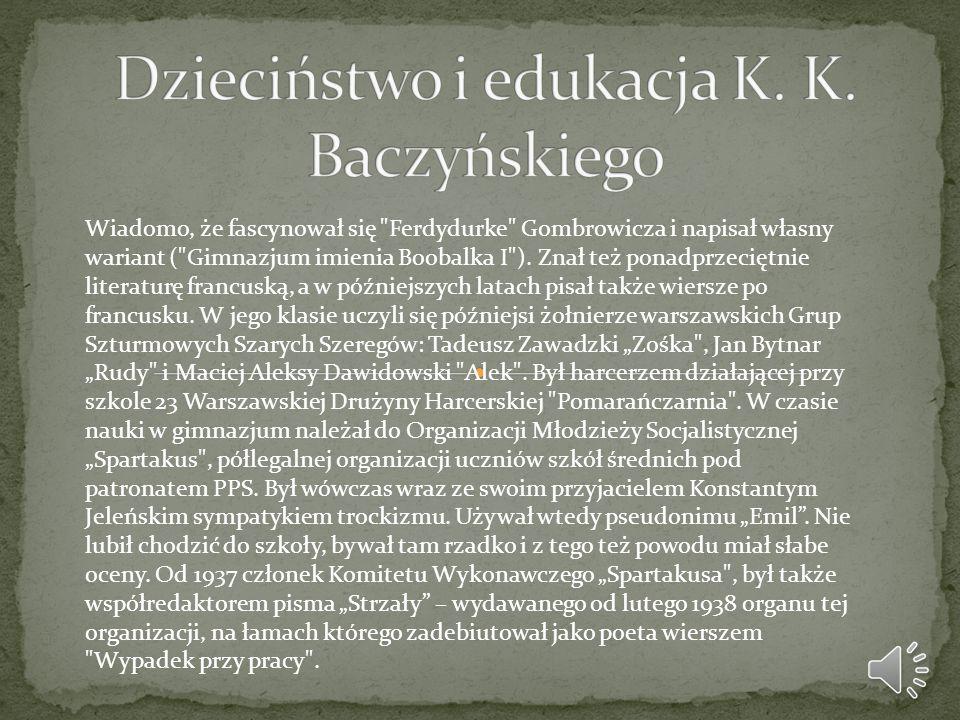 Krzysztof Kamil Baczyński poległ na posterunku w Pałacu Blanka 4 sierpnia 1944 w godzinach popołudniowych (ok.