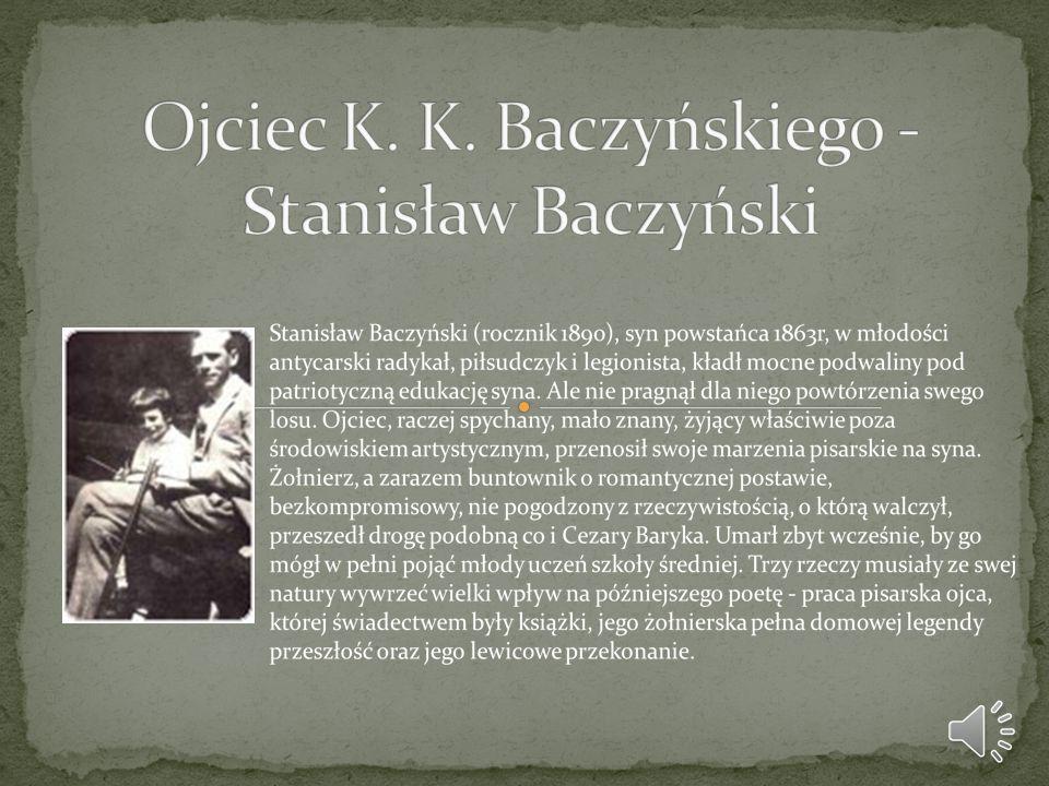 - Rodzina Baczyńskich ma aż pięciu bliższych i dalszych krewnych o różnych nazwiskach na listach katyńskich, w tym 16-letniego obrońcę Lwowa z 1918 r.