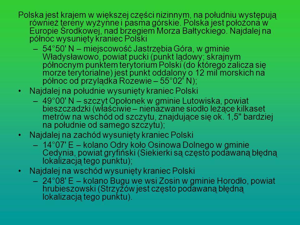 Polska jest krajem w większej części nizinnym, na południu występują również tereny wyżynne i pasma górskie. Polska jest położona w Europie Środkowej,