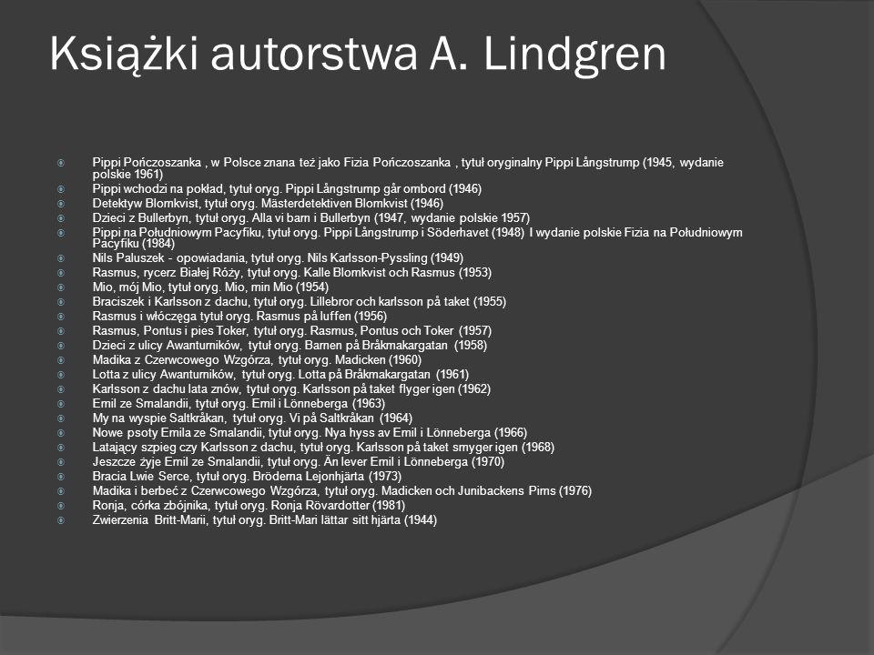Książki autorstwa A. Lindgren  Pippi Pończoszanka, w Polsce znana też jako Fizia Pończoszanka, tytuł oryginalny Pippi Långstrump (1945, wydanie polsk