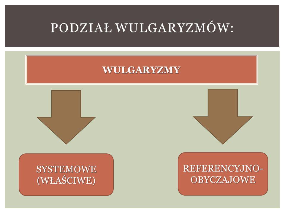 PODZIAŁ WULGARYZMÓW: WULGARYZMY SYSTEMOWE (WŁAŚCIWE) REFERENCYJNO- OBYCZAJOWE