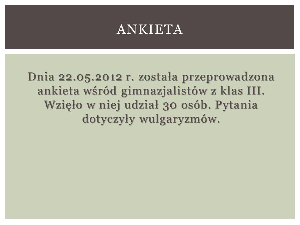 Dnia 22.05.2012 r.została przeprowadzona ankieta wśród gimnazjalistów z klas III.