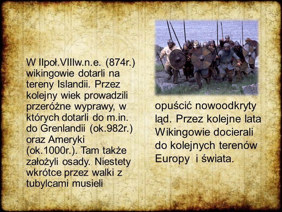 W IIpoł.VIIIw.n.e. (874r.) wikingowie dotarli na tereny Islandii. Przez kolejny wiek prowadzili przeróżne wyprawy, w których dotarli do m.in. do Grenl