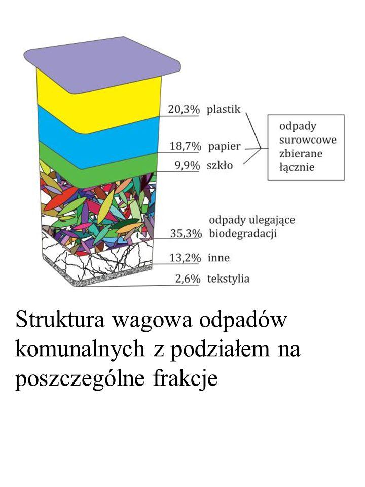 Struktura wagowa odpadów komunalnych z podziałem na poszczególne frakcje