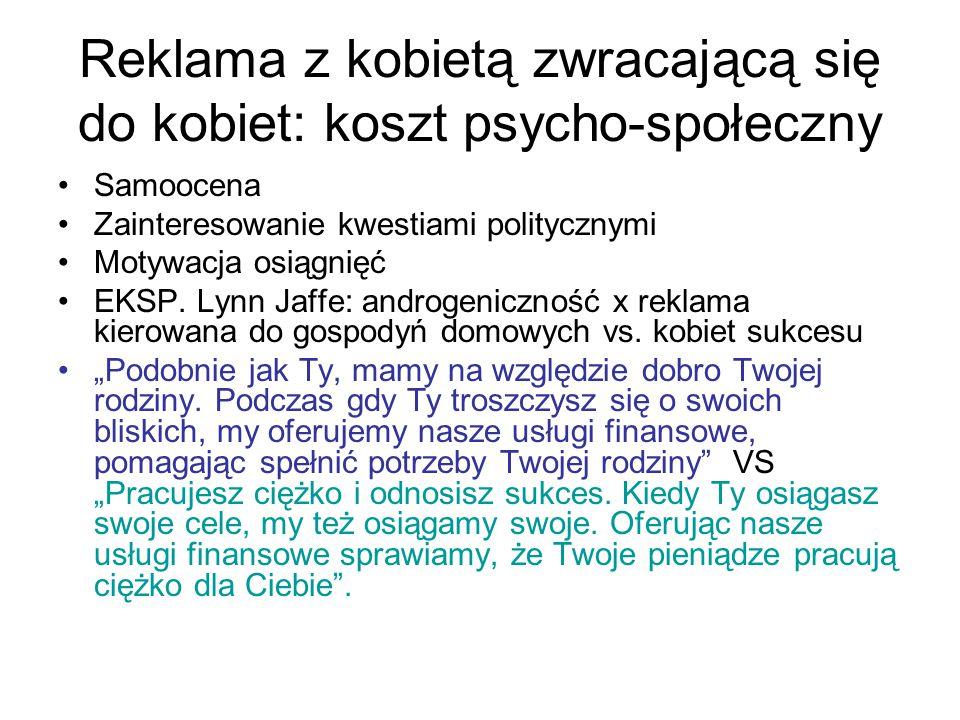 Reklama z kobietą zwracającą się do kobiet: koszt psycho-społeczny Samoocena Zainteresowanie kwestiami politycznymi Motywacja osiągnięć EKSP.