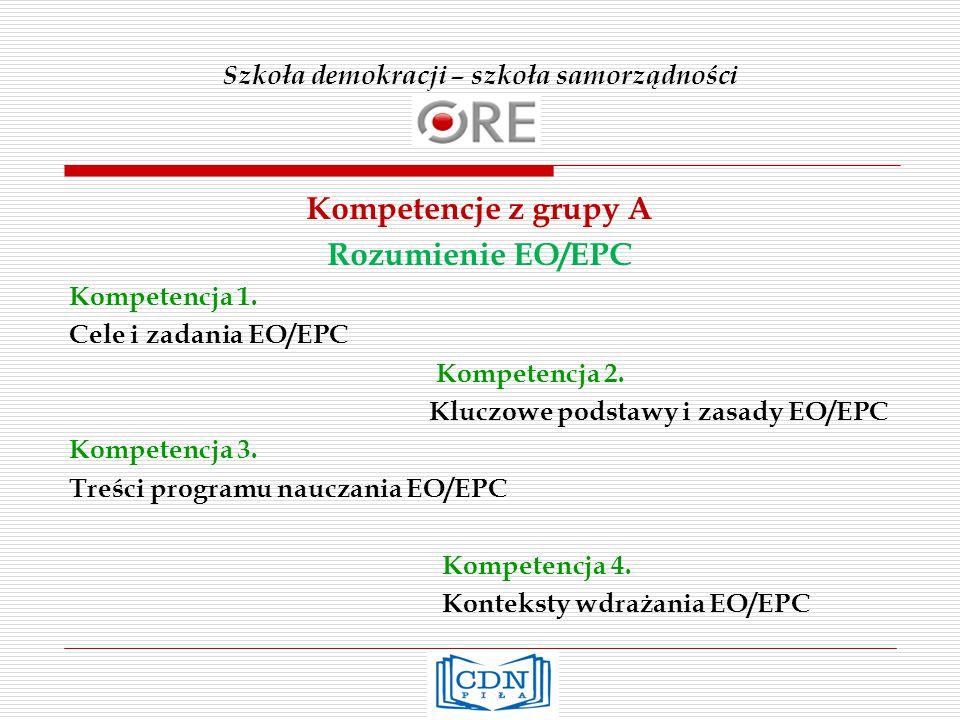 Szkoła demokracji – szkoła samorządności Kompetencje z grupy A Rozumienie EO/EPC Kompetencja 1.
