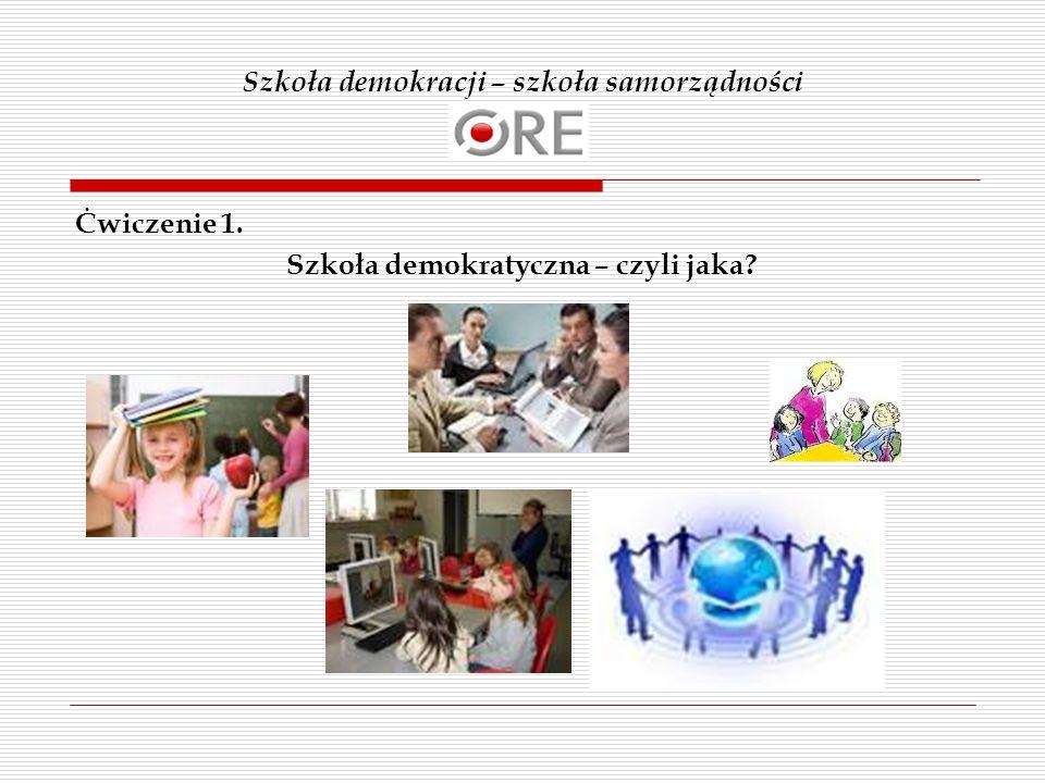 Szkoła demokracji – szkoła samorządności Ċwiczenie 1. Szkoła demokratyczna – czyli jaka