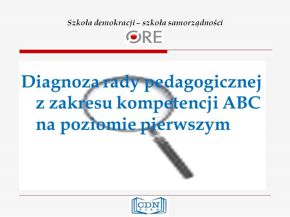 Szkoła demokracji – szkoła samorządności Diagnoza rady pedagogicznej z zakresu kompetencji ABC na poziomie pierwszym