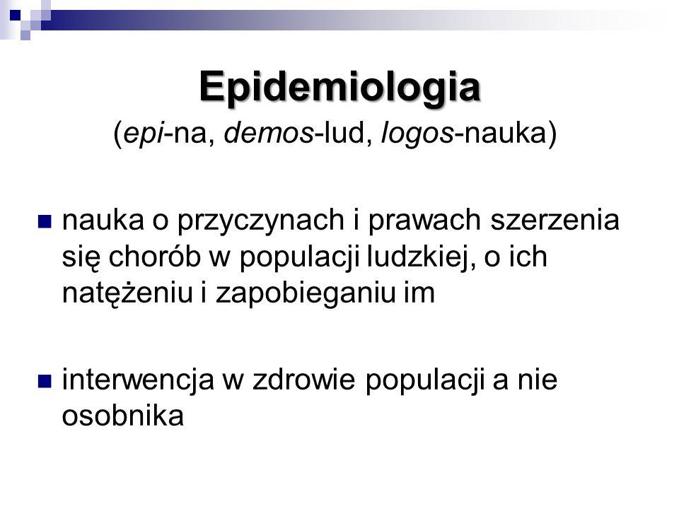 Epidemiologia (epi-na, demos-lud, logos-nauka) nauka o przyczynach i prawach szerzenia się chorób w populacji ludzkiej, o ich natężeniu i zapobieganiu im interwencja w zdrowie populacji a nie osobnika
