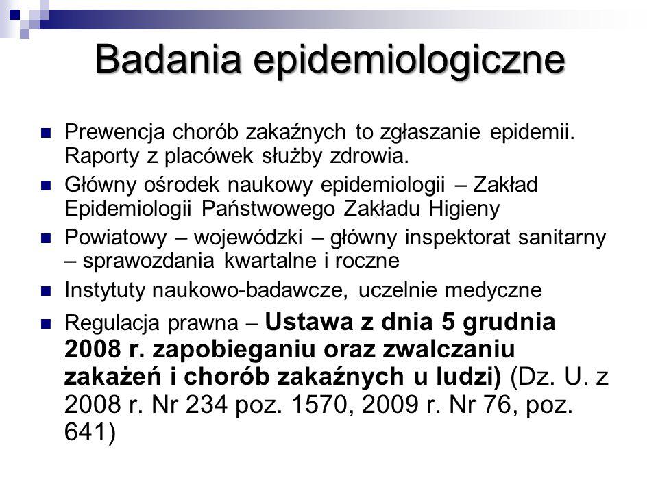 Badaniaepidemiologiczne Badania epidemiologiczne Prewencja chorób zakaźnych to zgłaszanie epidemii.