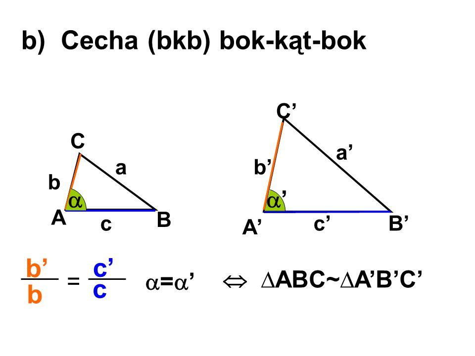 b) Cecha (bkb) bok-kąt-bok A B C A' B' C' a b c a' b' c' b' b c' c =  ∆ABC~∆A'B'C' '' ='='
