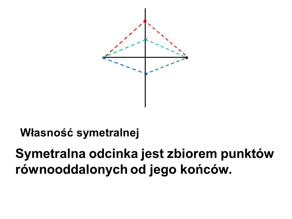 Symetralna odcinka jest zbiorem punktów równooddalonych od jego końców. Własność symetralnej