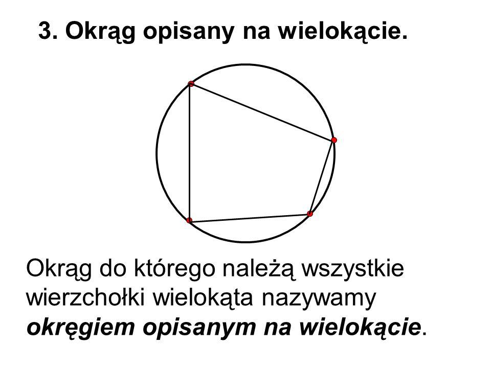 Okrąg do którego należą wszystkie wierzchołki wielokąta nazywamy okręgiem opisanym na wielokącie. 3. Okrąg opisany na wielokącie.