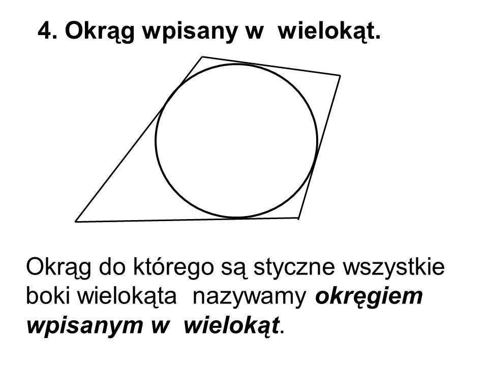 Okrąg do którego są styczne wszystkie boki wielokąta nazywamy okręgiem wpisanym w wielokąt. 4. Okrąg wpisany w wielokąt.