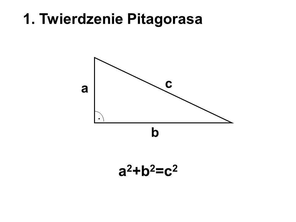 1. Twierdzenie Pitagorasa a b c a 2 +b 2 =c 2