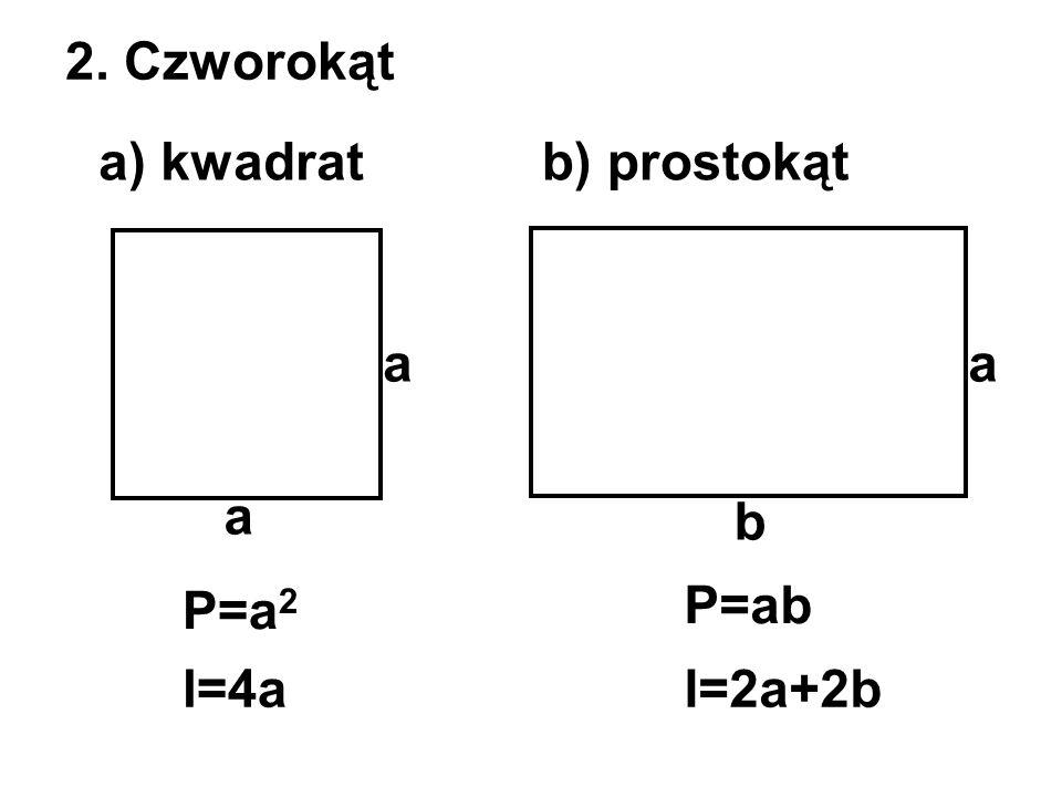 2. Czworokąt a) kwadratb) prostokąt a a P=ab P=a 2 l=4al=2a+2b a b