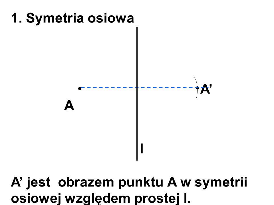 1. Symetria osiowa A A' l A' jest obrazem punktu A w symetrii osiowej względem prostej l.
