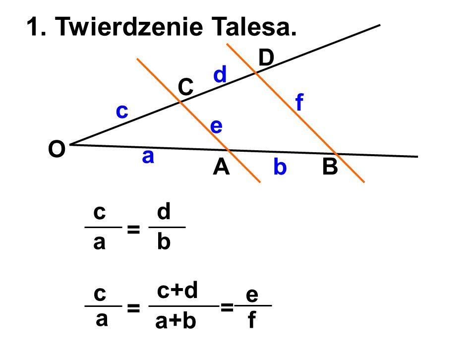 1. Twierdzenie Talesa. AB C D O a b c d e f a c = b d a c = a+b c+d f e =