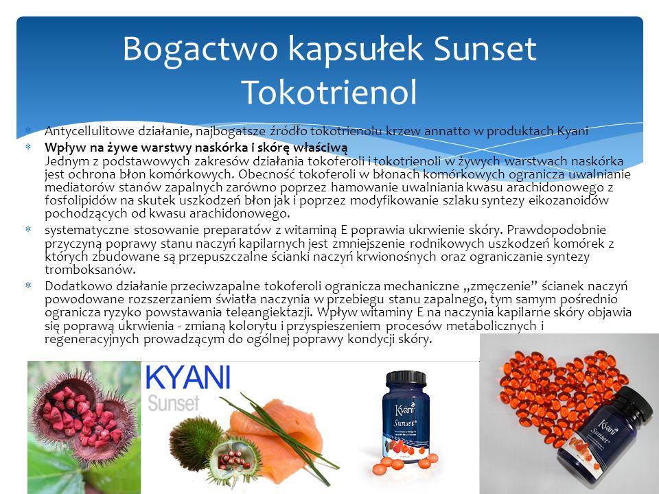  Antycellulitowe działanie, najbogatsze źródło tokotrienolu krzew annatto w produktach Kyani  Wpływ na żywe warstwy naskórka i skórę właściwą Jednym z podstawowych zakresów działania tokoferoli i tokotrienoli w żywych warstwach naskórka jest ochrona błon komórkowych.