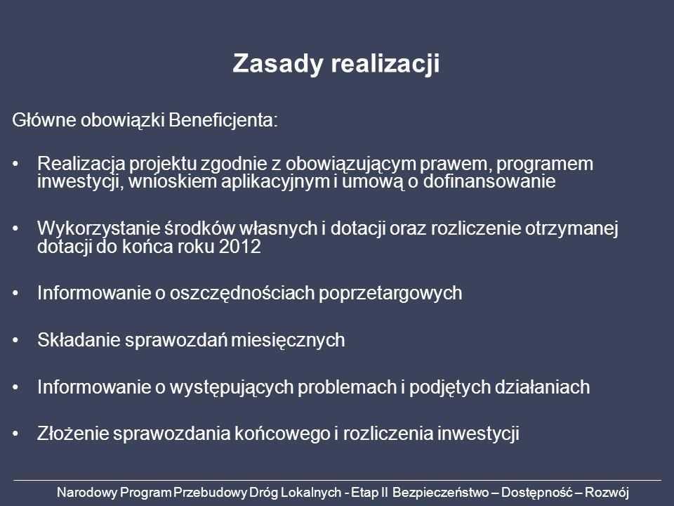 Narodowy Program Przebudowy Dróg Lokalnych - Etap II Bezpieczeństwo – Dostępność – Rozwój Zasady realizacji Główne obowiązki Beneficjenta: Realizacja projektu zgodnie z obowiązującym prawem, programem inwestycji, wnioskiem aplikacyjnym i umową o dofinansowanie Wykorzystanie środków własnych i dotacji oraz rozliczenie otrzymanej dotacji do końca roku 2012 Informowanie o oszczędnościach poprzetargowych Składanie sprawozdań miesięcznych Informowanie o występujących problemach i podjętych działaniach Złożenie sprawozdania końcowego i rozliczenia inwestycji
