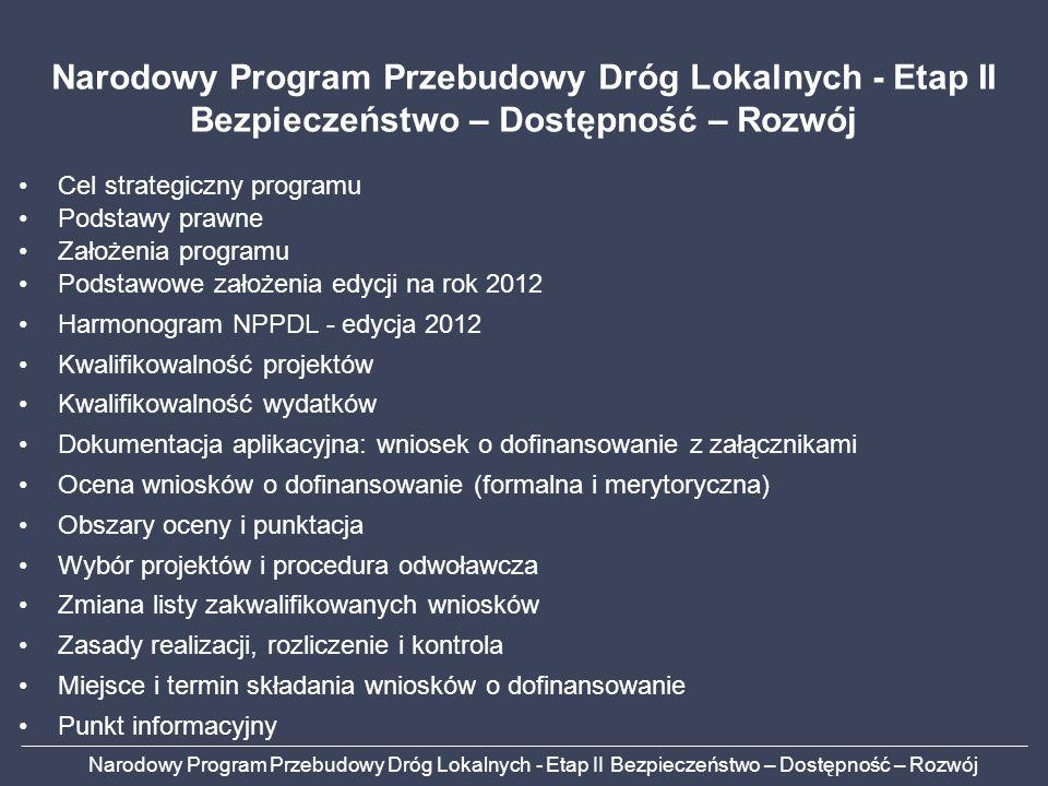 Cel strategiczny programu Podstawy prawne Założenia programu Podstawowe założenia edycji na rok 2012 Harmonogram NPPDL - edycja 2012 Kwalifikowalność