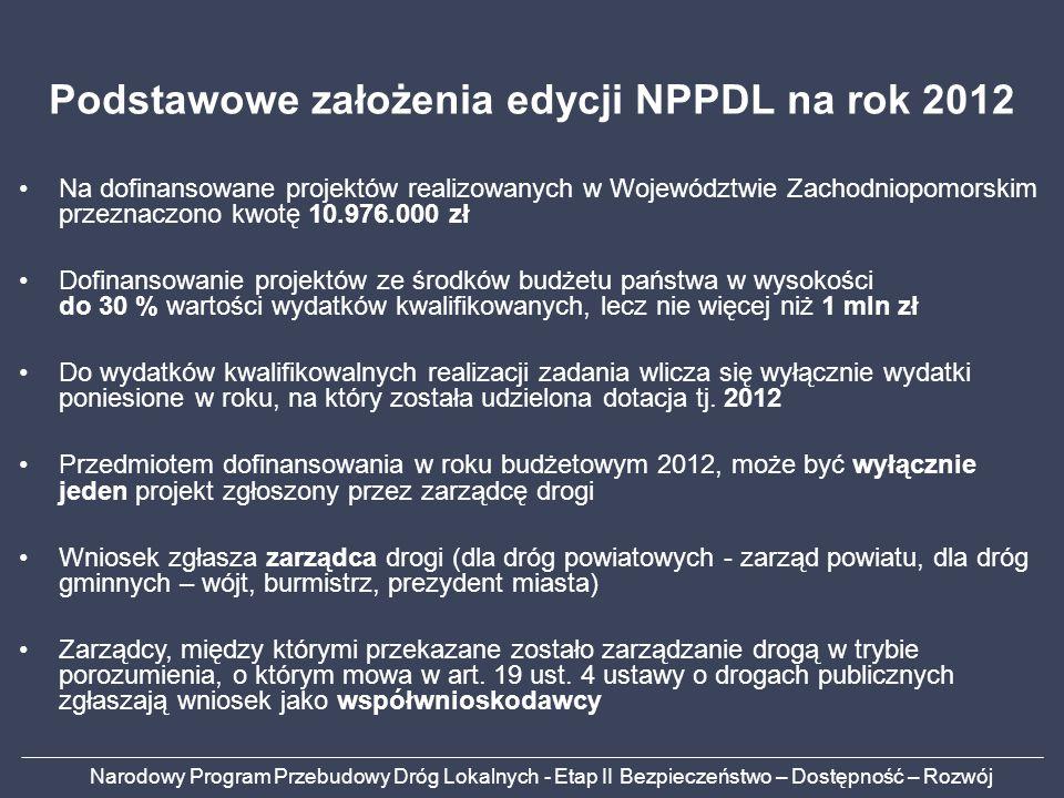 Narodowy Program Przebudowy Dróg Lokalnych - Etap II Bezpieczeństwo – Dostępność – Rozwój Podstawowe założenia edycji NPPDL na rok 2012 Na dofinansowa