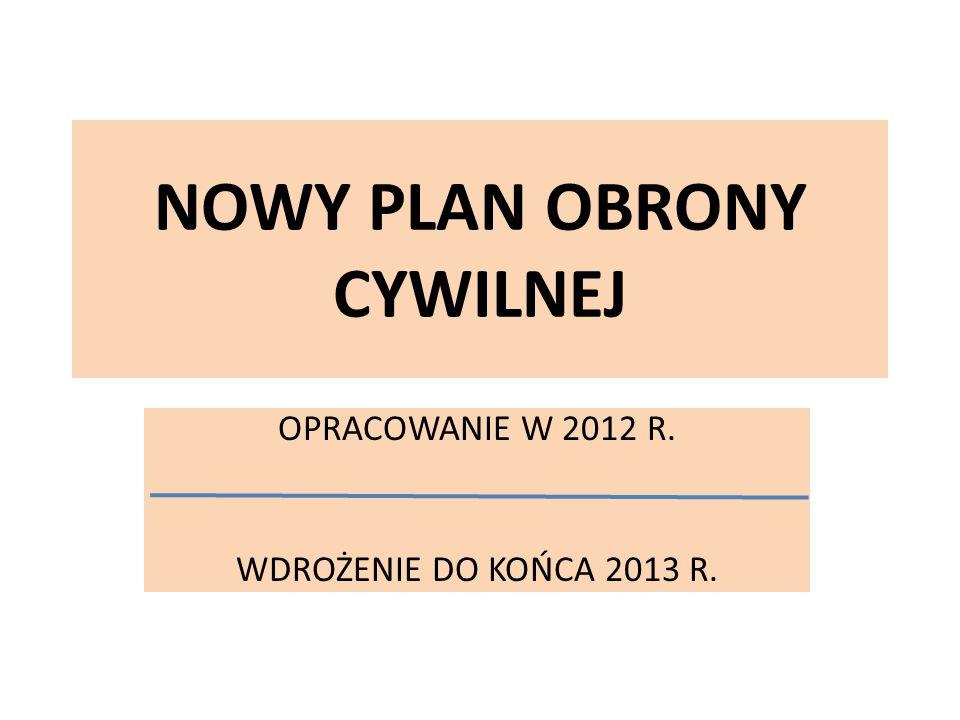NOWY PLAN OBRONY CYWILNEJ OPRACOWANIE W 2012 R. WDROŻENIE DO KOŃCA 2013 R.