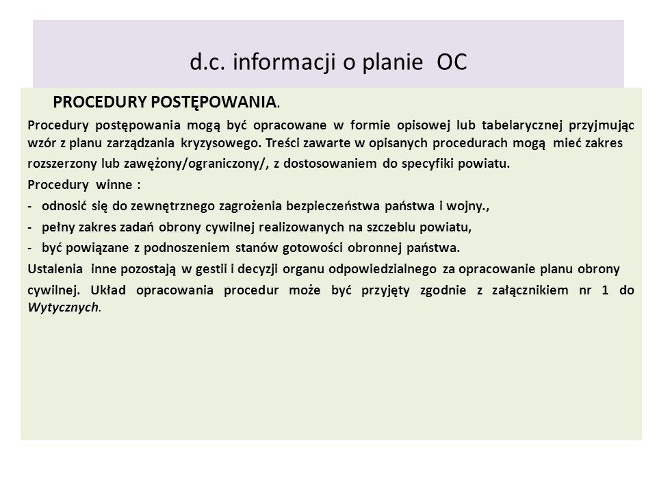 d.c. informacji o planie OC PROCEDURY POSTĘPOWANIA. Procedury postępowania mogą być opracowane w formie opisowej lub tabelarycznej przyjmując wzór z p