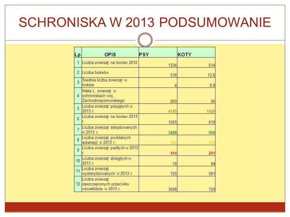 SCHRONISKA W 2013 PODSUMOWANIE LpOPISPSYKOTY 1Liczba zwierząt na koniec 2012 1334614 2Liczba boksów 51813,6 3 Średnia liczba zwierząt w boksie 49,8 4
