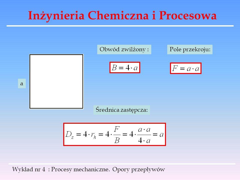 Inżynieria Chemiczna i Procesowa Wykład nr 4 : Procesy mechaniczne. Opory przepływów a Pole przekroju:Obwód zwilżony : Średnica zastępcza: