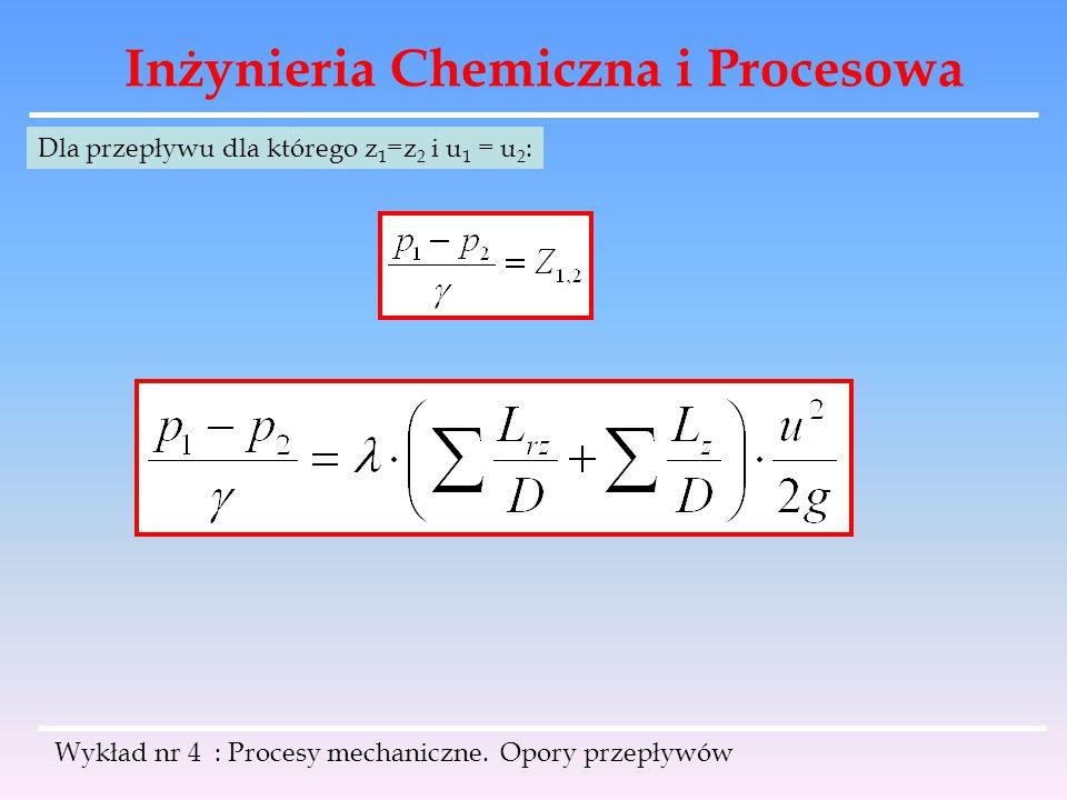 Inżynieria Chemiczna i Procesowa Wykład nr 4 : Procesy mechaniczne. Opory przepływów Dla przepływu dla którego z 1 =z 2 i u 1 = u 2 :