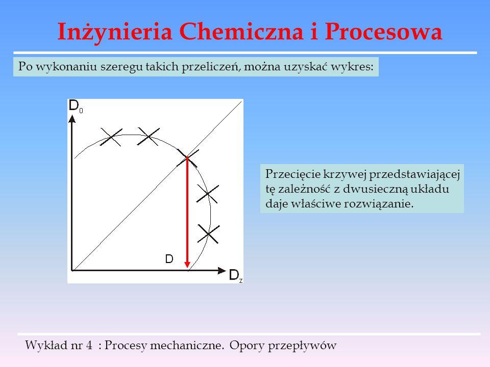 Inżynieria Chemiczna i Procesowa Wykład nr 4 : Procesy mechaniczne. Opory przepływów Po wykonaniu szeregu takich przeliczeń, można uzyskać wykres: D P