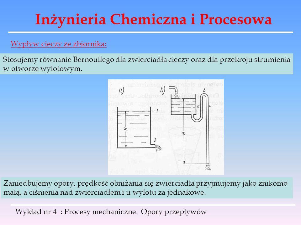 Inżynieria Chemiczna i Procesowa Wykład nr 4 : Procesy mechaniczne. Opory przepływów Wypływ cieczy ze zbiornika: Stosujemy równanie Bernoullego dla zw