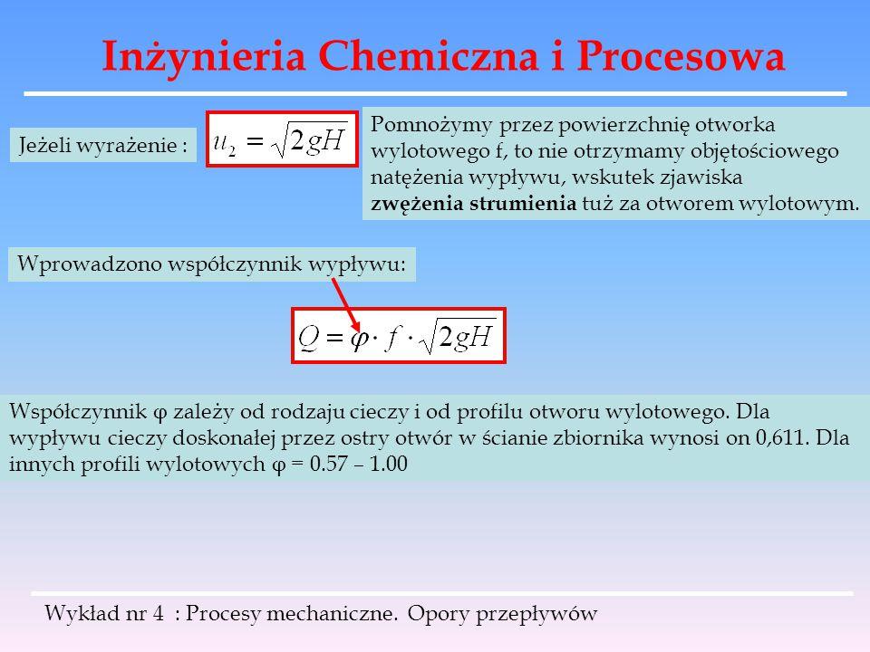Inżynieria Chemiczna i Procesowa Wykład nr 4 : Procesy mechaniczne. Opory przepływów Jeżeli wyrażenie : Pomnożymy przez powierzchnię otworka wylotoweg