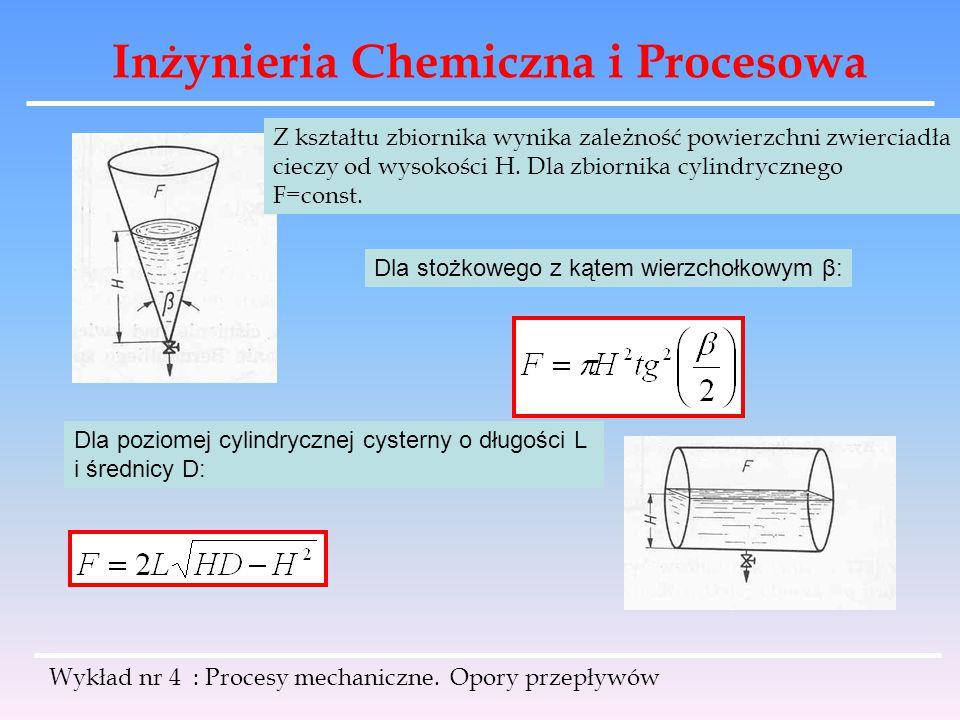 Inżynieria Chemiczna i Procesowa Wykład nr 4 : Procesy mechaniczne. Opory przepływów Z kształtu zbiornika wynika zależność powierzchni zwierciadła cie
