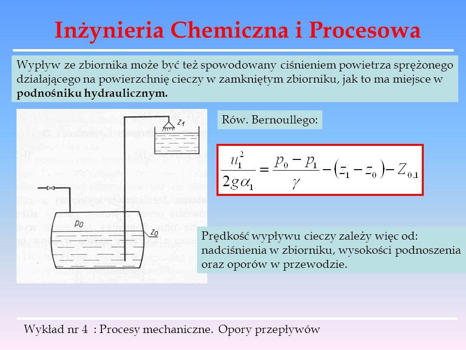 Inżynieria Chemiczna i Procesowa Wykład nr 4 : Procesy mechaniczne. Opory przepływów Wypływ ze zbiornika może być też spowodowany ciśnieniem powietrza
