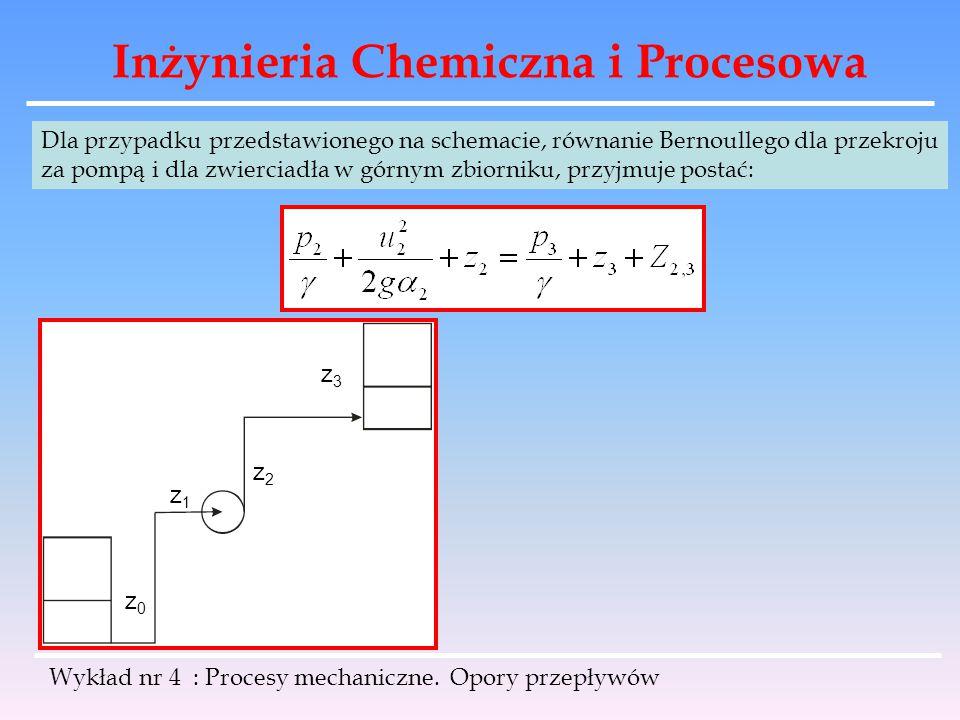 Inżynieria Chemiczna i Procesowa Wykład nr 4 : Procesy mechaniczne. Opory przepływów Dla przypadku przedstawionego na schemacie, równanie Bernoullego