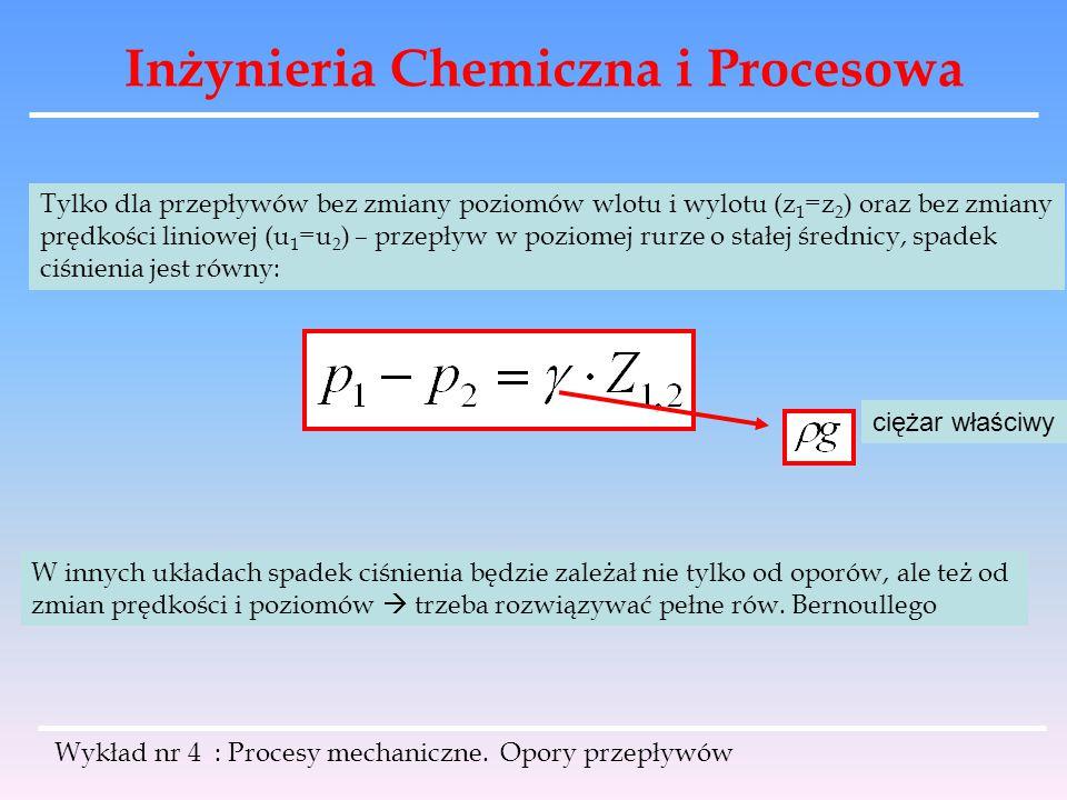 Inżynieria Chemiczna i Procesowa Wykład nr 4 : Procesy mechaniczne. Opory przepływów Tylko dla przepływów bez zmiany poziomów wlotu i wylotu (z 1 =z 2
