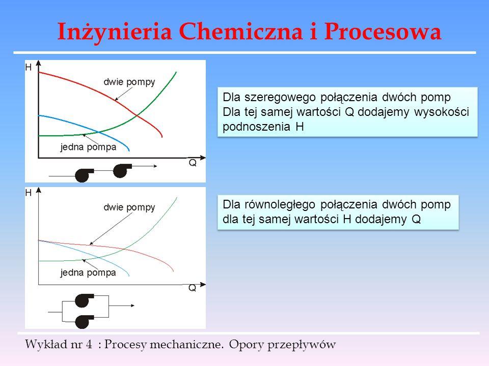 Inżynieria Chemiczna i Procesowa Wykład nr 4 : Procesy mechaniczne. Opory przepływów Dla szeregowego połączenia dwóch pomp Dla tej samej wartości Q do