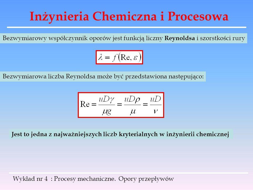 Inżynieria Chemiczna i Procesowa Wykład nr 4 : Procesy mechaniczne. Opory przepływów Bezwymiarowy współczynnik oporów jest funkcją liczny Reynoldsa i