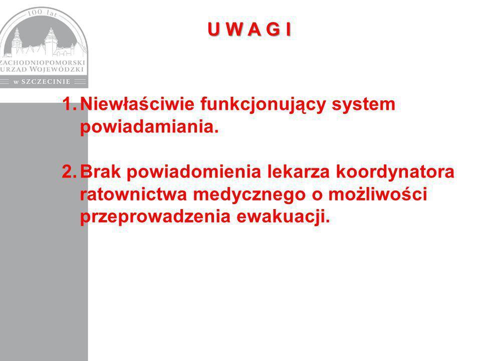 1.Niewłaściwie funkcjonujący system powiadamiania.