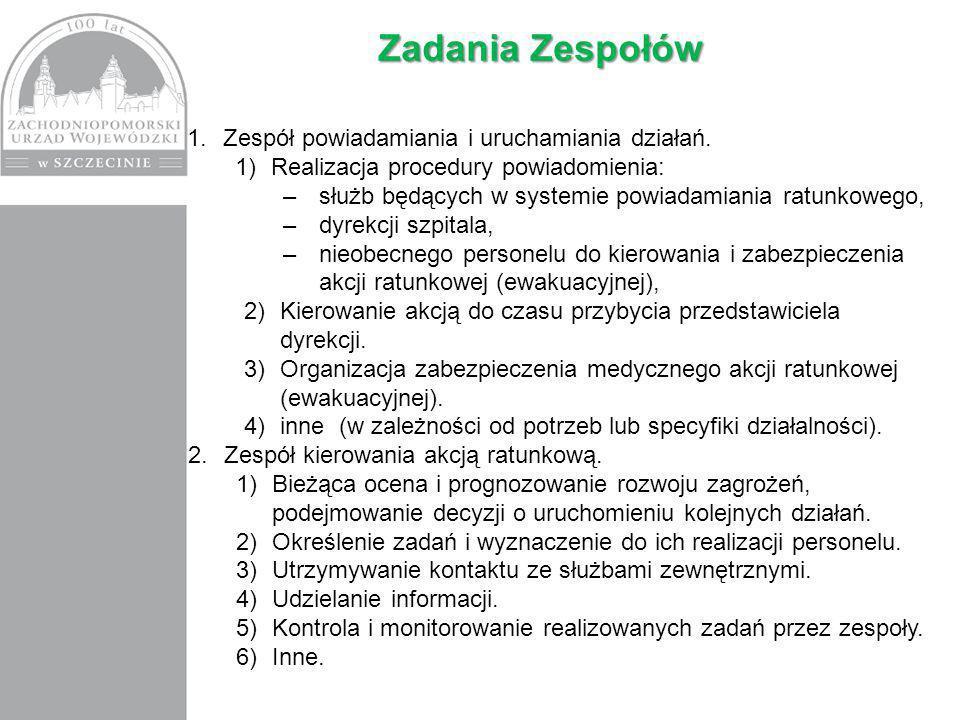 Zadania Zespołów 1.Zespół powiadamiania i uruchamiania działań.