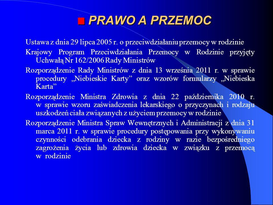 PRAWO A PRZEMOC PRAWO A PRZEMOC Ustawa z dnia 29 lipca 2005 r. o przeciwdziałaniu przemocy w rodzinie Krajowy Program Przeciwdziałania Przemocy w Rodz