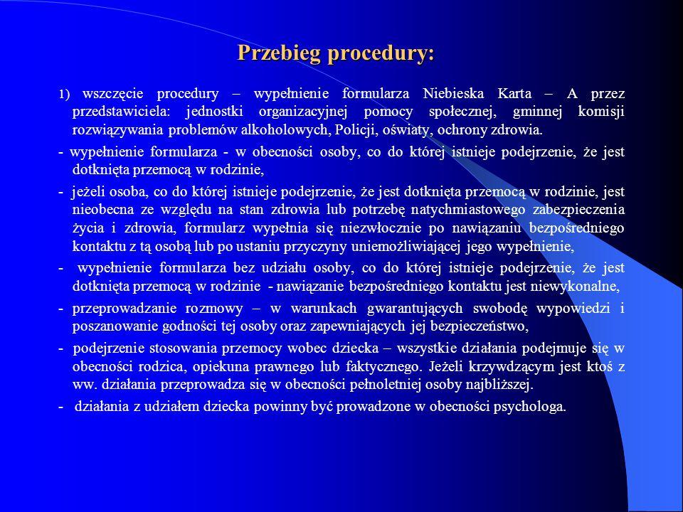 Przebieg procedury: 1) wszczęcie procedury – wypełnienie formularza Niebieska Karta – A przez przedstawiciela: jednostki organizacyjnej pomocy społecz