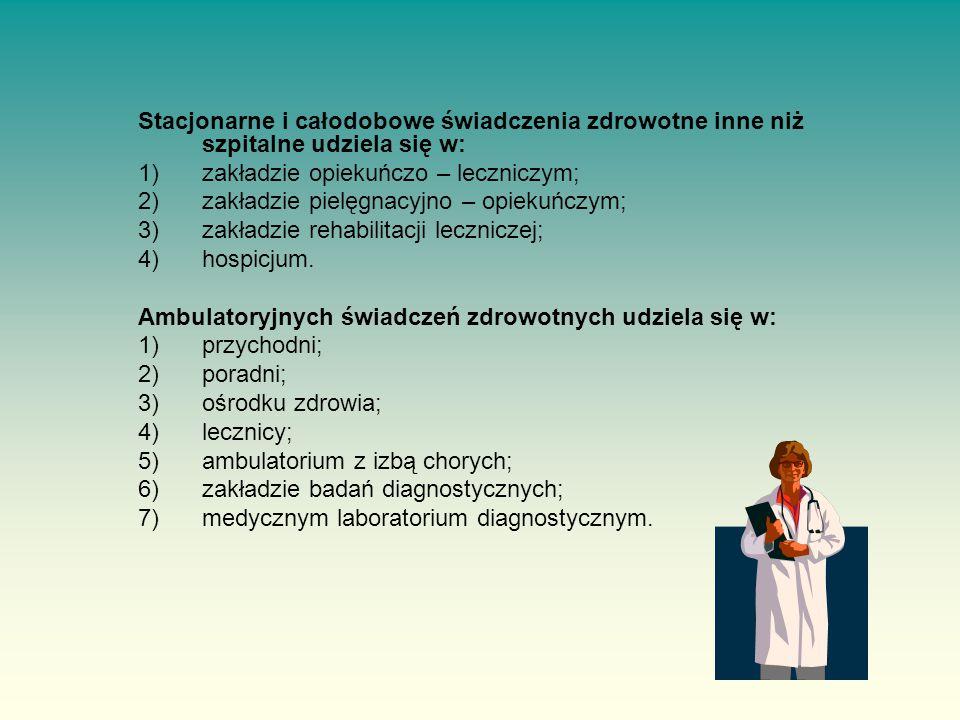 Stacjonarne i całodobowe świadczenia zdrowotne inne niż szpitalne udziela się w: 1)zakładzie opiekuńczo – leczniczym; 2)zakładzie pielęgnacyjno – opiekuńczym; 3)zakładzie rehabilitacji leczniczej; 4)hospicjum.